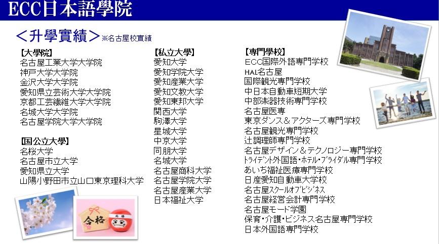 ECC日本語學院名古屋校_升學實績
